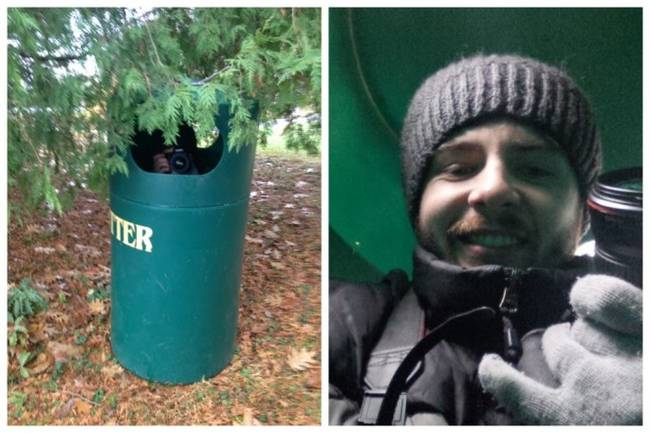 Photographer Chance Faulkner had disguised himself and his camera using a trashcan. Bailey had no idea and the pictures Chance took are amazing!